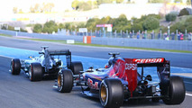 Lewis Hamilton (GBR) Mercedes AMG F1 W06 and Max Verstappen (NLD) Scuderia Toro Rosso STR10 at the pit lane exit, 04.02.2015, Formula One Testing, Day Four, Jerez, Spain / XPB