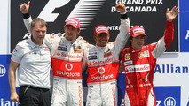 2nd place Jenson Button (GBR), McLaren Mercedes with 1st place Lewis Hamilton (GBR), McLaren Mercedes and 3rd place Fernando Alonso (ESP), Scuderia Ferrari, Canadian Grand Prix, Sunday Podium, 13.06.2010 Montreal, Canada