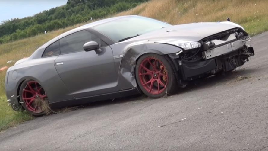 2,000 beygirlik Nissan GT-R, 350 km/s hızda kontrolü kaybediyor