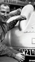 Stirling Moss in practice at Hockenheim 1955