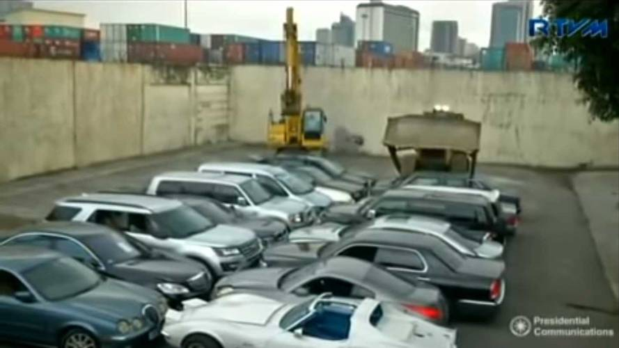 Watch The Philippines Smash 30 'Luxury' Cars To Send A Message