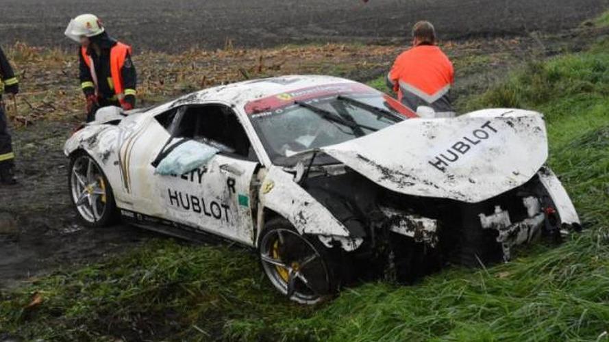 Ferrari 458 Italia crashed on a wet German road