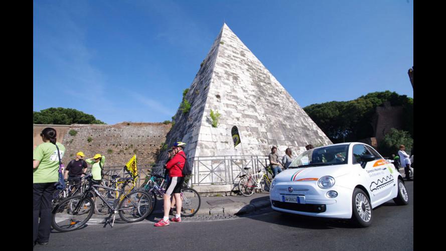 Giro d'Italia elettrico: la 500 elettrica fa tappa a Perugia
