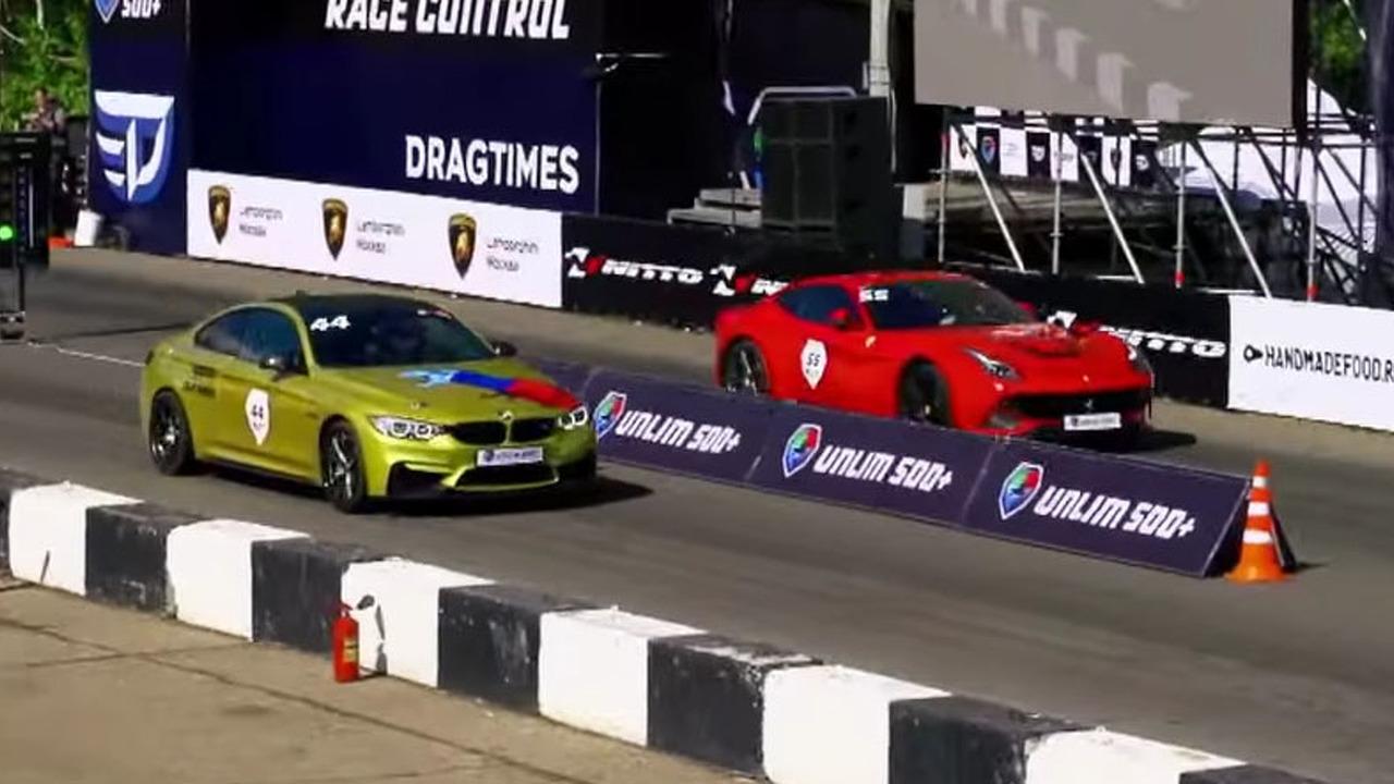 BMW and Ferrari drag race