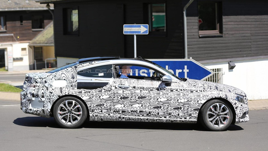 2016 Mercedes-Benz C-Class Coupe spied with the sunroof open