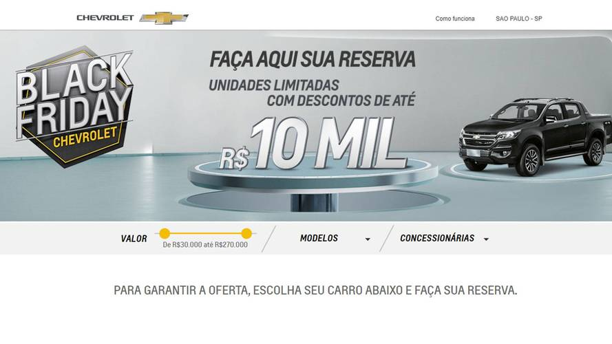 Black Friday: Chevrolet dá descontos de até R$ 10 mil