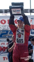 Victory lane- Dan Wheldon celebrates