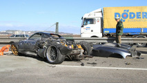 Pagani C9 prototype autobahn crash in Germany 31.03.2010