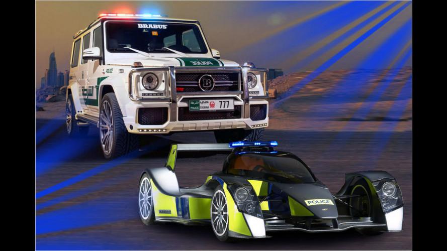 Polizei-Porsche und Blaulicht-Bugatti