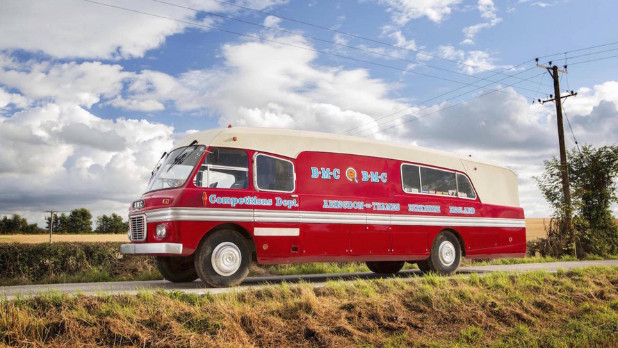 1959 BMC 5-Ton Race Transporter bus heading to auction
