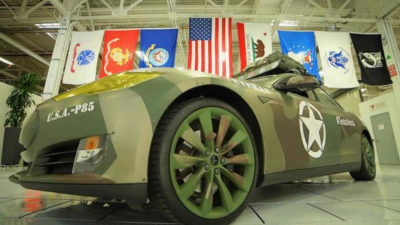 Tesla Model S with army camo wrap