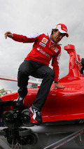 Fernando Alonso (ESP) jumps off new Ferrari Formula Rossa Roller Coaster, Spanish Grand Prix, 06.05.2010 Barcelona, Spain
