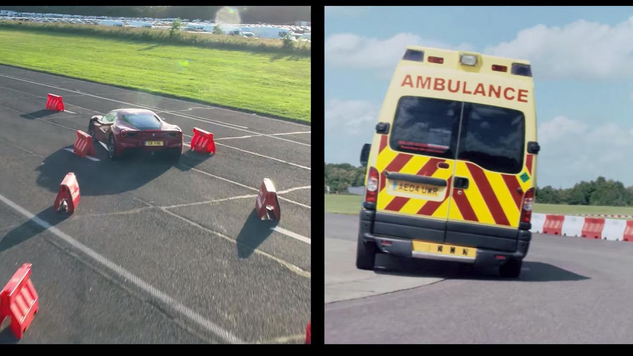 Ambulans şoförü Sebastian Vettel Ferrari 488 GTB'ye karşı