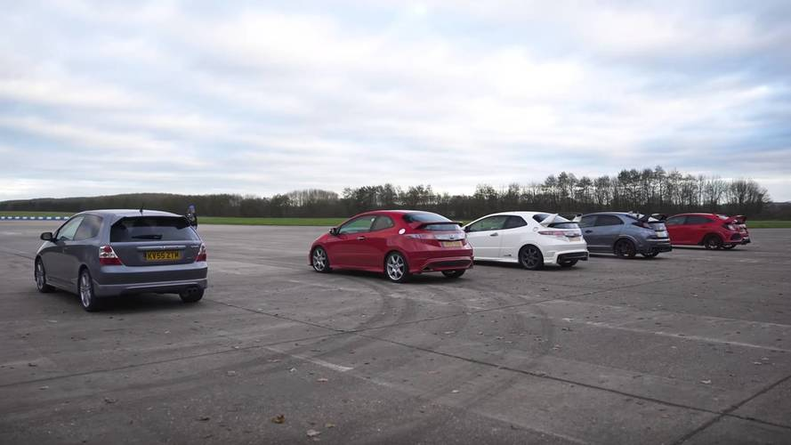 Guess Who Wins: Four Generations Civic Type Rs Lined Up For Drag