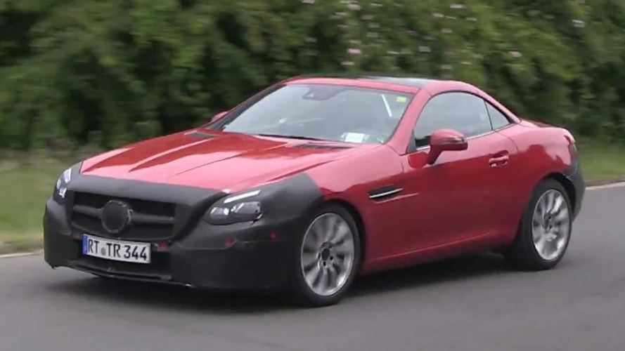 2016 Mercedes-Benz SLC poses for the camera with LED headlights [spy video]