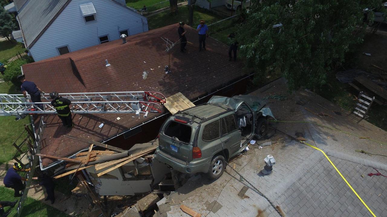 SUV on roof