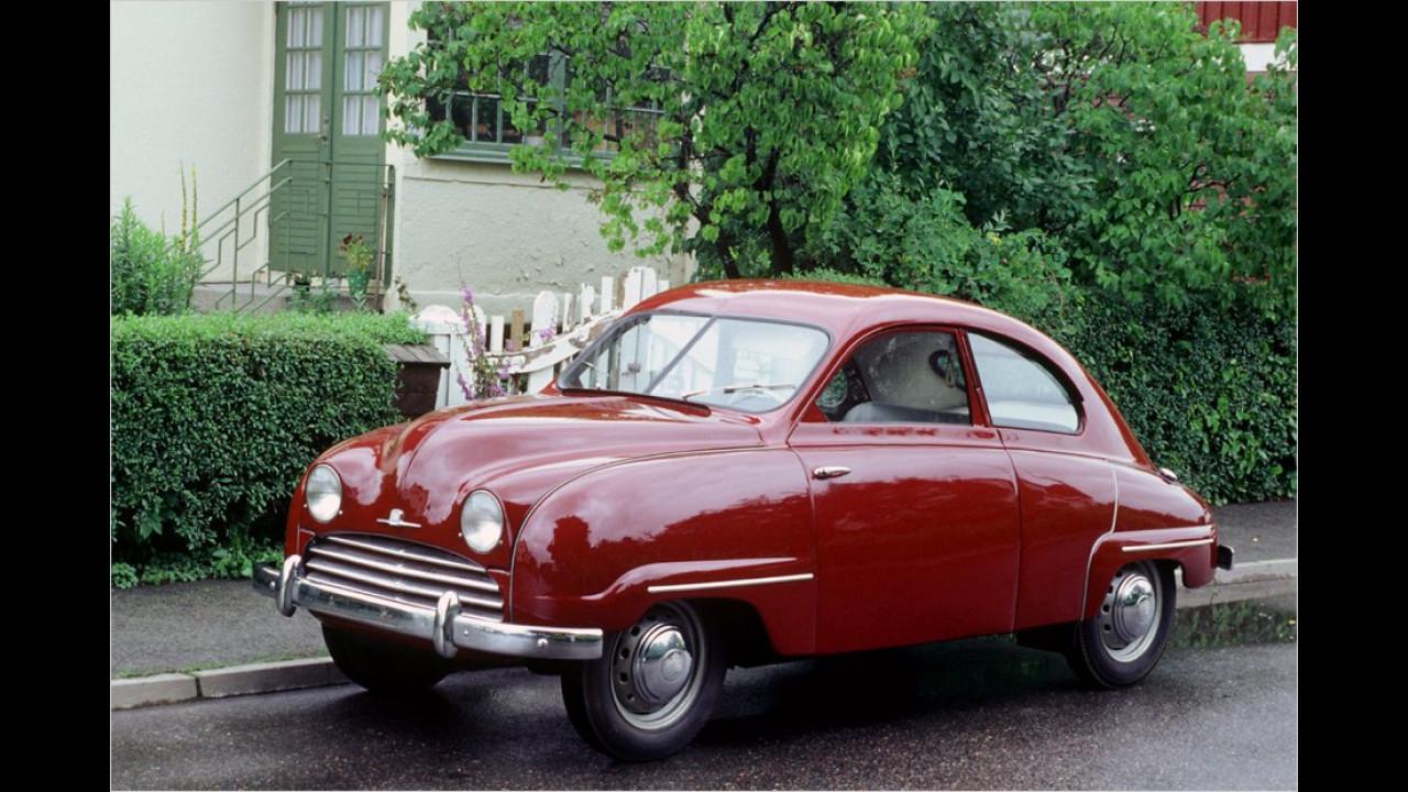 1949 lief die Serienfertigung des Saab 92 mit einem Zweitakt-Zweizylinder unter der Haube an