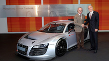 Emilio Radaelli (Audi Sport Italia) and Head of Audi Motorsport Dr. Wolfgang Ullrich during the hand-over of the first Audi R8 LMS