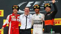 F1 Russian gp 2015 podium, second place sebastian vettel, winner Lewis Hamilton