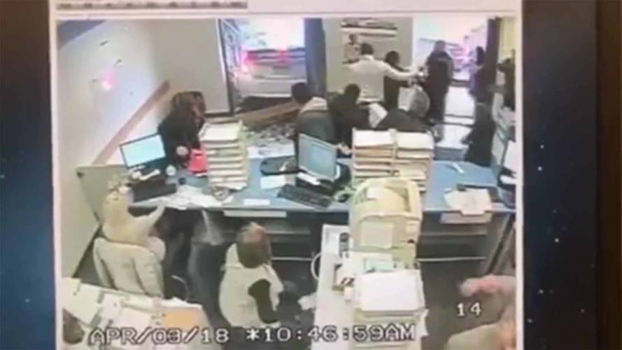 Watch Student Driver Crash Into DMV Building While Taking Test