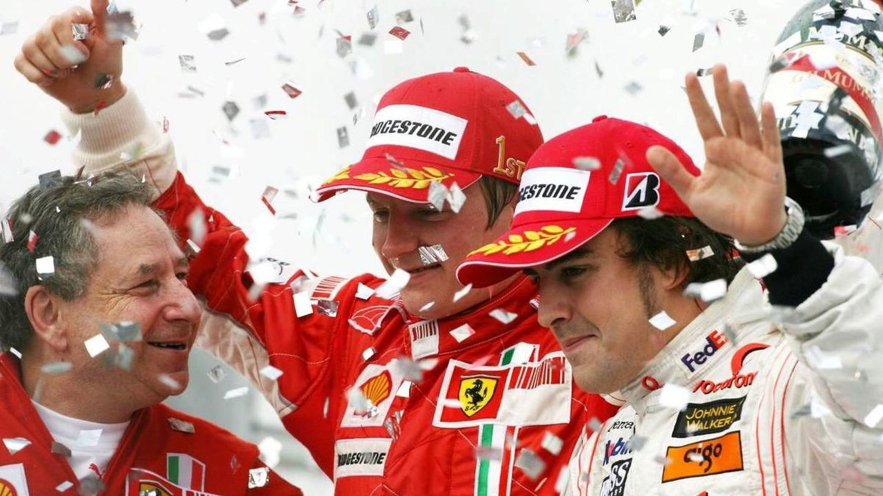 Jean Todt (FRA), Scuderia Ferrari, Ferrari CEO, Kimi Raikkonen (FIN), Räikkönen, Scuderia Ferrari, Fernando Alonso (ESP), McLaren Mercedes, Brazilian Grand Prix, Sao Paulo, Brazil, 21.10.2007