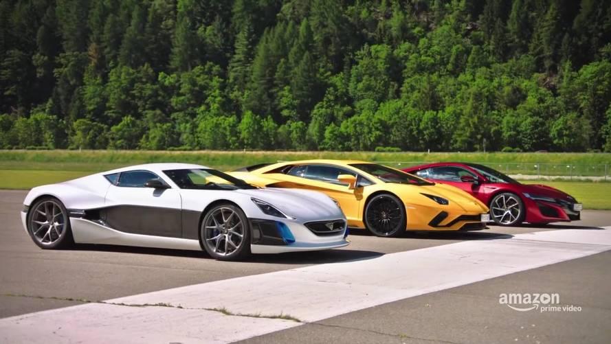 Földbe döngölte a Rimac Concept One a Lamborghinit és a Hondát