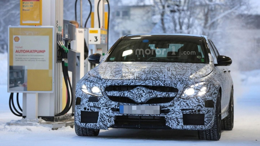 2017 Mercedes-AMG E63 seen getting a refill