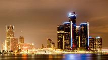 Detroit Skyline Night