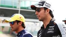 Sergio Perez, Sahara Force India F1 and Felipe Nasr, Sauber F1 Team on the drivers parade