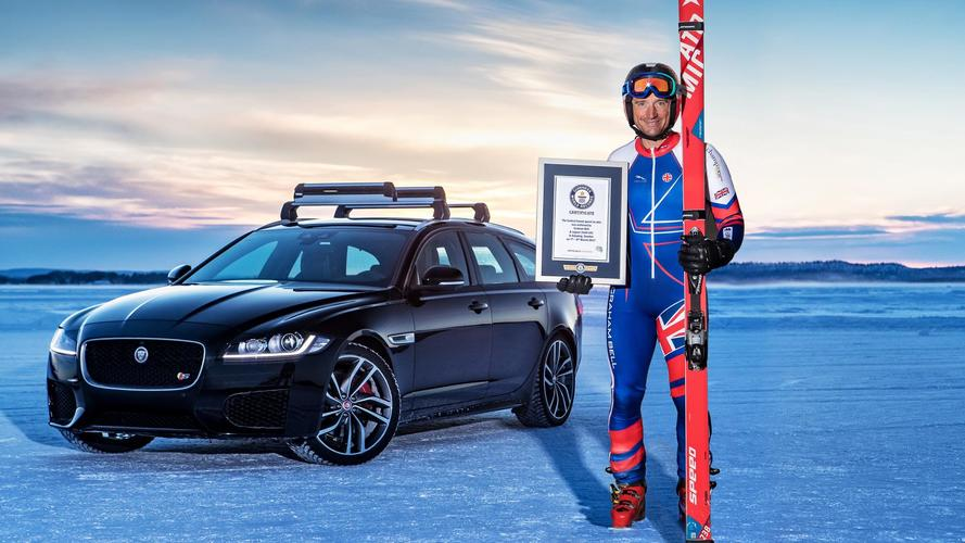 A 188 km/h en esquís, gracias al Jaguar XF Sportbrake