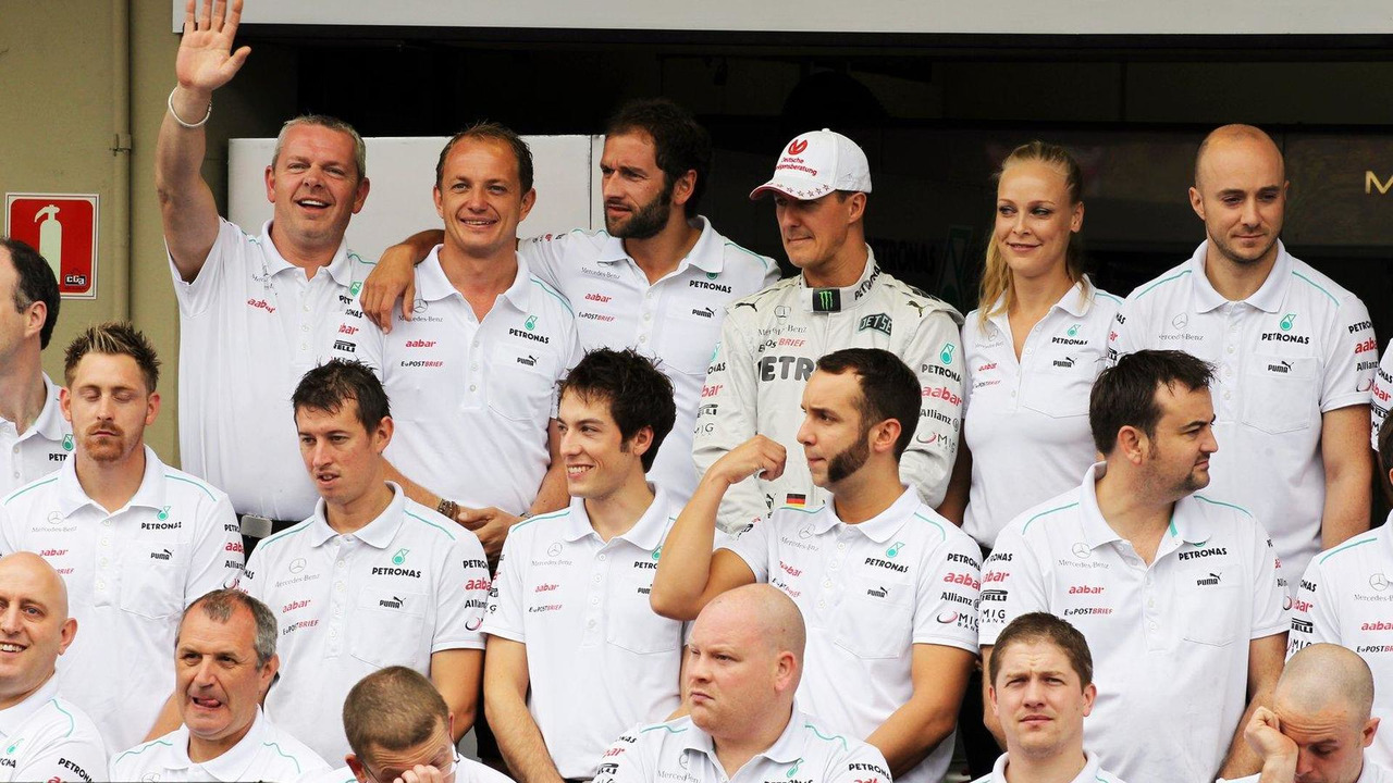 Michael Schumacher and Mercedes AMG F1 team photograph 25.11.2012 Brazilian Grand Prix