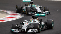 Lewis Hamilton (GBR) leads team mate Nico Rosberg (GER), 27.07.2014, Hungarian Grand Prix, Budapest / XPB
