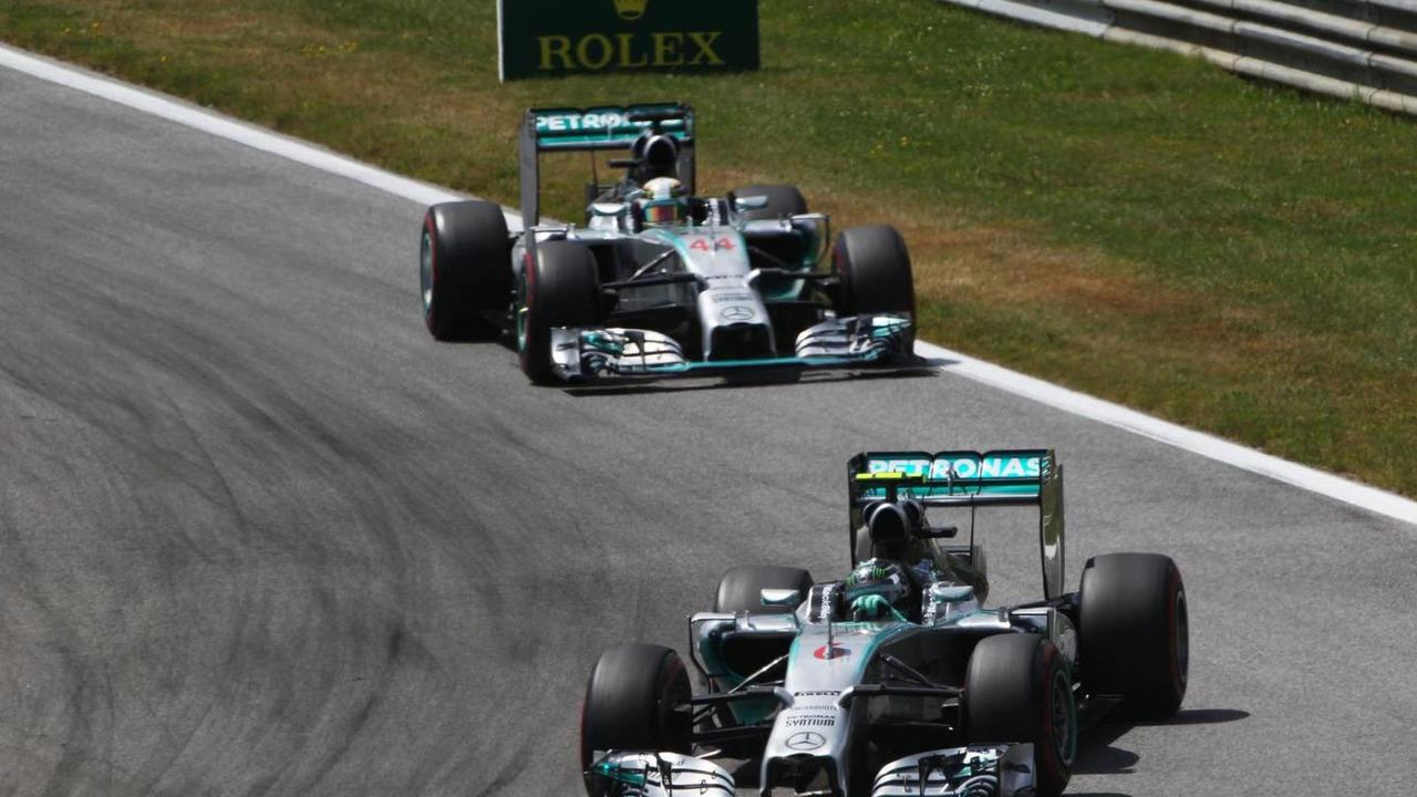 Nico Rosberg (GER) leads team mate Lewis Hamilton (GBR), 22.06.2014, Austrian Grand Prix, Spielberg / XPB