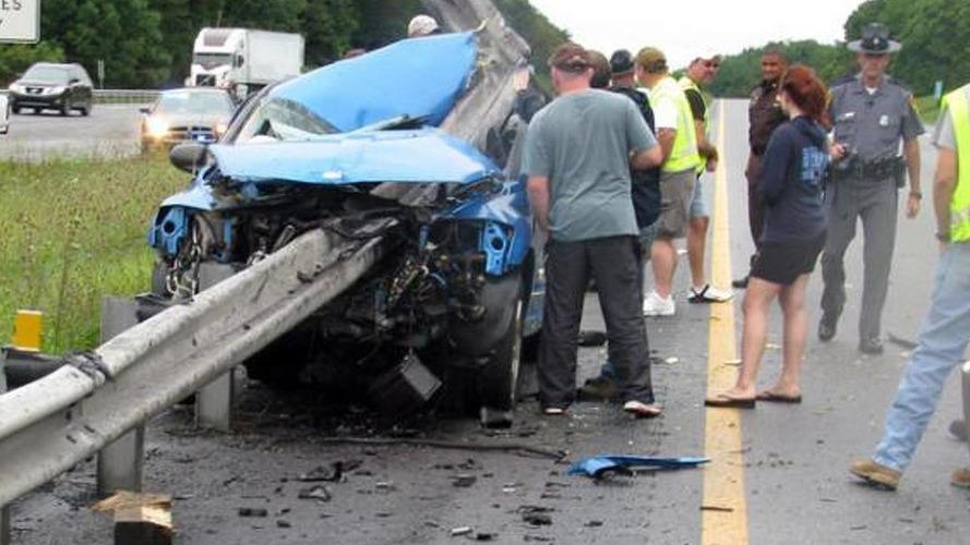 Dodge Caliber impaled in horrifying accident but driver survives
