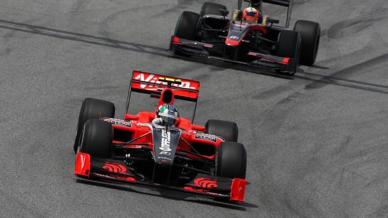 Lucas di Grassi (BRA), Virgin Racing, Karun Chandhok (IND), Hispania Racing F1 Team HRT, Spanish Grand Prix, 09.05.2010 Barcelona, Spain