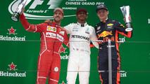 Podium: second place Sebastian Vettel, Ferrari, Aldo Costa, Engineering Director, Mercedes AMG, Race winner Lewis Hamilton, Mercedes AMG, third place Max Verstappen, Red Bull Racing on the podium