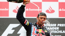 Mark Webber, winner, 2009 German Grand Prix, celebrates on podium