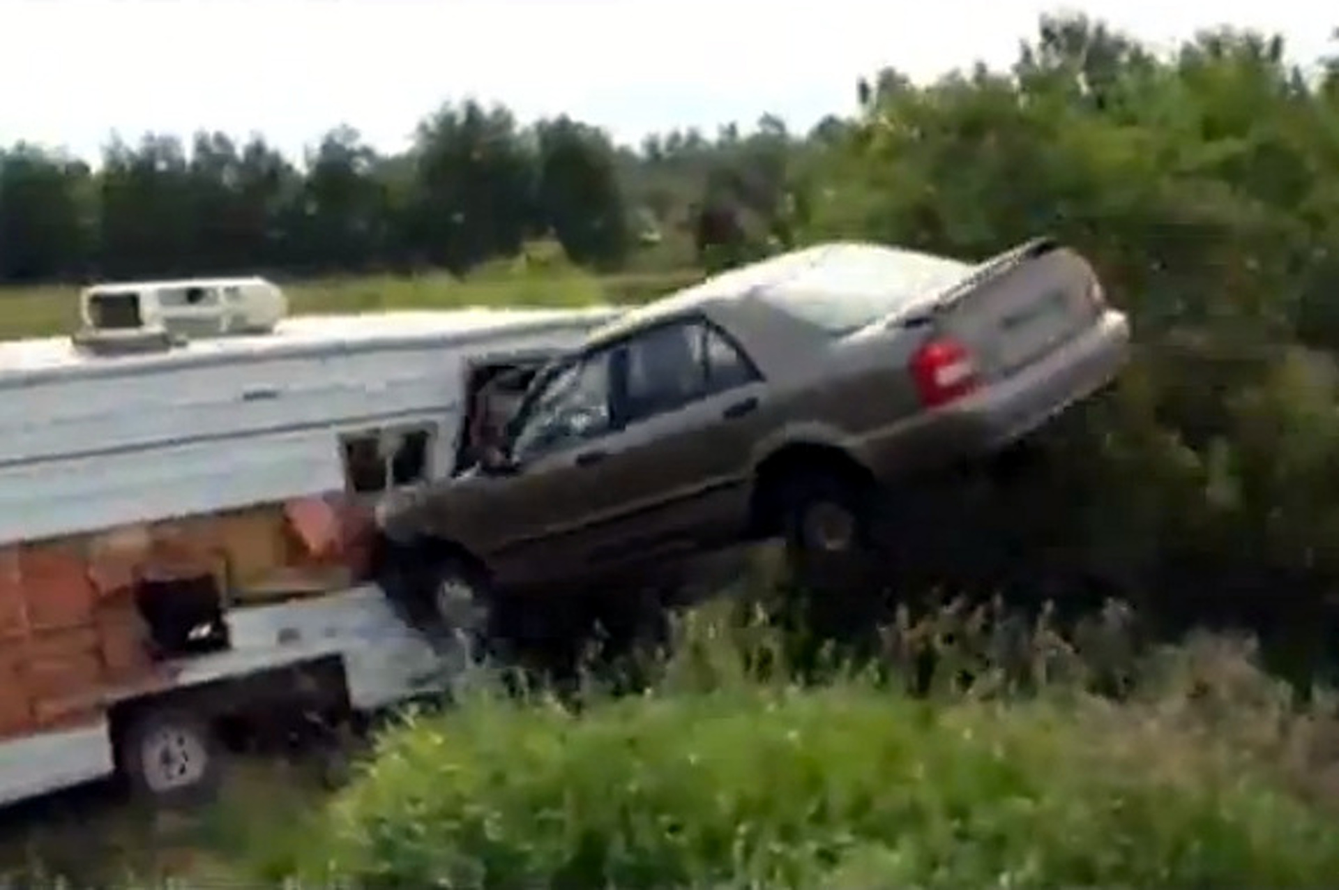 Video: Jumping Car Into an RV Proves Canadian Rednecks Do Exist