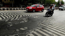 Photo shows extremely high temperatures in India are literally melting roads