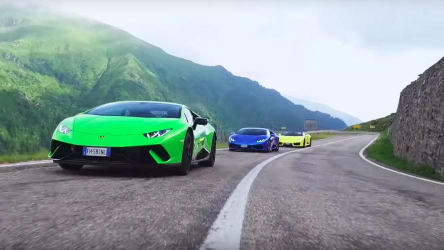 VIDÉO - Trois Lamborghini sur la plus belle route du monde!