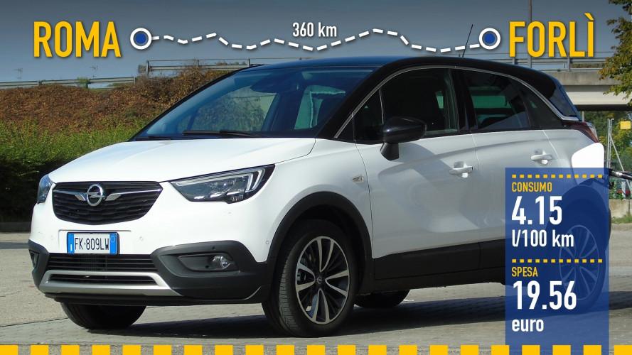 Opel Crossland X, la prova dei consumi reali
