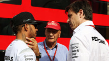 Lewis Hamilton with Niki Lauda and Toto Wolff