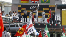 The podium (L to R): Nico Rosberg (GER) Mercedes AMG F1, second; Lewis Hamilton (GBR) Mercedes AMG F1, race winner; Felipe Massa (BRA) Williams, third, 07.09.2014, Italian Grand Prix, Monza / XPB