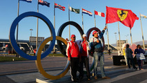 Ferrari fans with the Olympic rings