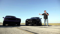 Dodge Challenger Hellcat drag races Chevrolet Camaro ZL1