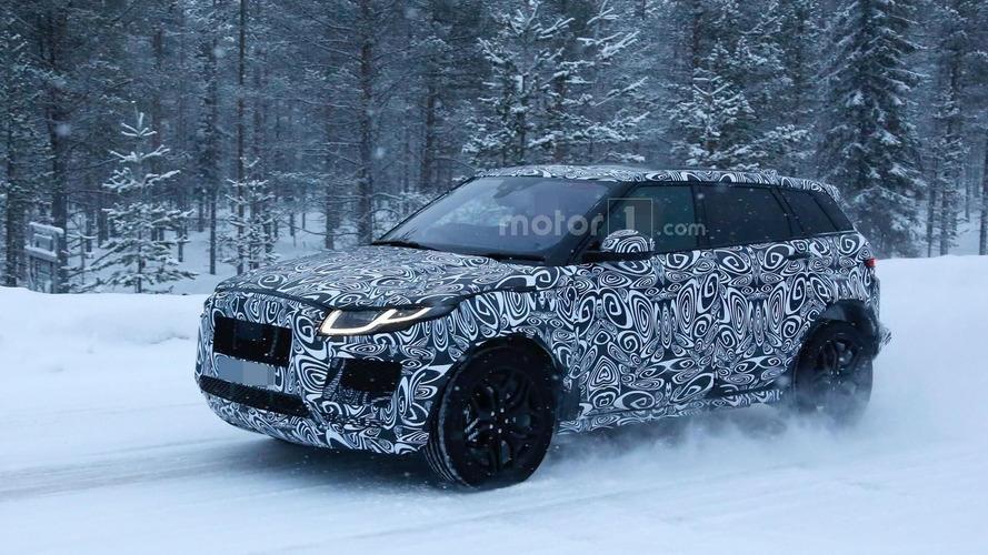 Jaguar E-Pace mule spied wearing a Range Rover Evoque body