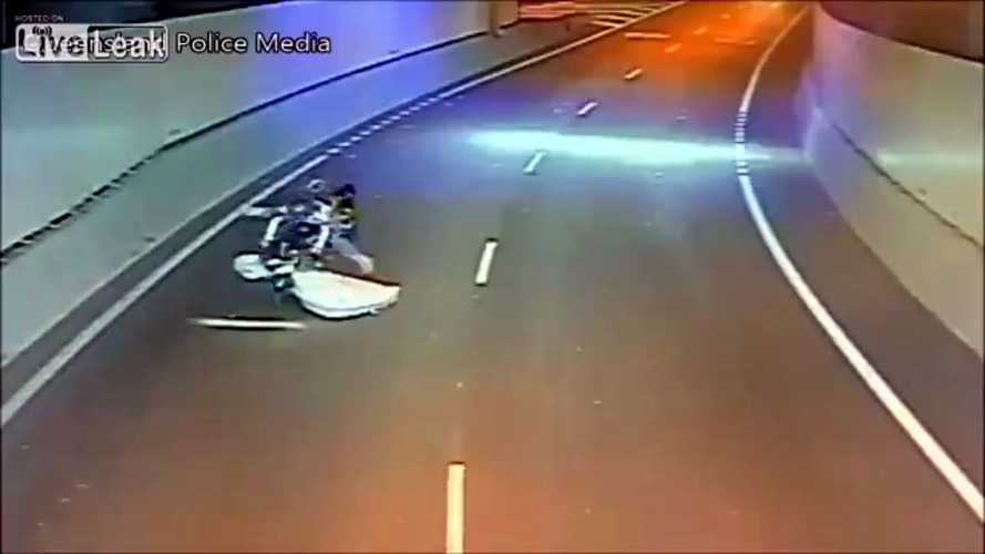 Flying Mattress Causes Biker To Do Rad Stoppie No-Footer
