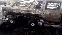 Mansory G63 AMG 6x6 completely burns after minor accident in China