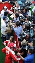 (Top to Bottom): Fernando Alonso, McLaren; Max Verstappen, Red Bull Racing; and Kimi Raikkonen, Ferrari, with the media