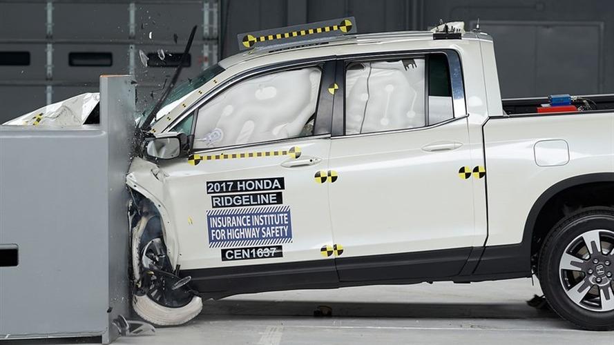 Honda Ridgeline during IIHS crash test